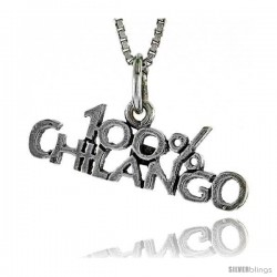 Sterling Silver 100 Percent CHILANGO Word Necklace, w/ 18 in Box Chain