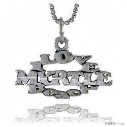 Sterling Silver I LOVE MYRTLE BEACH Word Necklace, w/ 18 in Box Chain