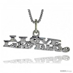Sterling Silver I LOVE LAKE TAHOE Word Necklace, w/ 18 in Box Chain