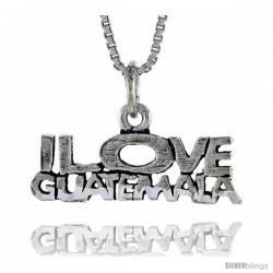 Sterling Silver I LOVE GUATEMALA Word Necklace, w/ 18 in Box Chain