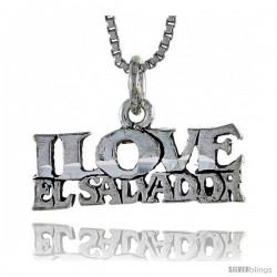 Sterling Silver I LOVE EL SALVADOR Word Necklace, w/ 18 in Box Chain