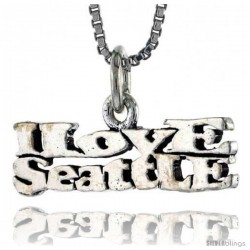 Sterling Silver I LOVE SEATTLE Word Necklace, w/ 18 in Box Chain