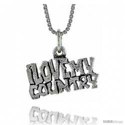 Sterling Silver I LOVE MY COUNTRY Word Necklace, w/ 18 in Box Chain