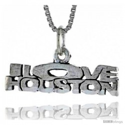 Sterling Silver I LOVE HOUSTON Word Necklace, w/ 18 in Box Chain