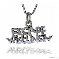 Sterling Silver ESCAPE WISCONSIN Word Necklace, w/ 18 in Box Chain