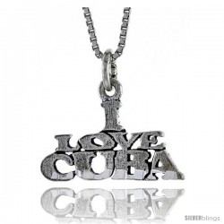 Sterling Silver I LOVE CUBA Word Necklace, w/ 18 in Box Chain