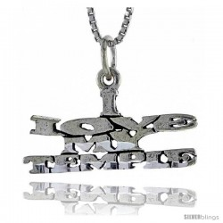 Sterling Silver I LOVE MY TEMPLE Word Necklace, w/ 18 in Box Chain