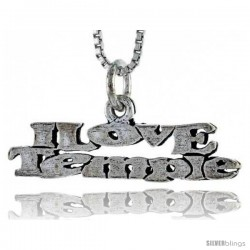 Sterling Silver I LOVE TEMPLE Word Necklace, w/ 18 in Box Chain