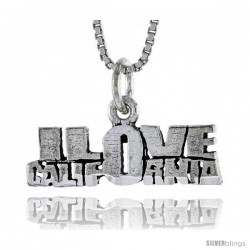 Sterling Silver I LOVE CALIFORNIA Word Necklace, w/ 18 in Box Chain
