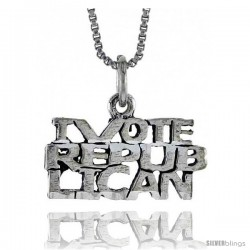 Sterling Silver I VOTE REPUBLICAN Word Necklace, w/ 18 in Box Chain