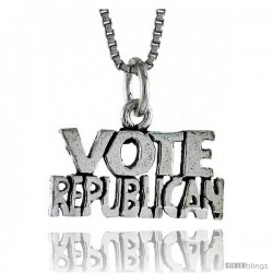 Sterling Silver VOTE REPUBLICAN Word Necklace, w/ 18 in Box Chain