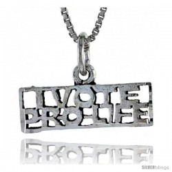 Sterling Silver I VOTE PRO-LIFE Word Necklace, w/ 18 in Box Chain
