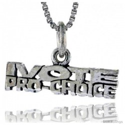 Sterling Silver I VOTE PRO-CHOICE Word Necklace, w/ 18 in Box Chain