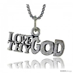 Sterling Silver LOVE THY GOD Word Necklace, w/ 18 in Box Chain