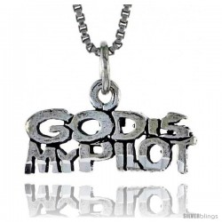 Sterling Silver GOD IS MY PILOT Word Necklace, w/ 18 in Box Chain