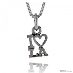Sterling Silver I LOVE LA Word Necklace, w/ 18 in Box Chain