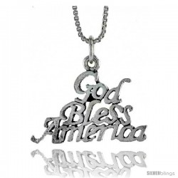 Sterling Silver GOD BLESS AMERICA Word Necklace, w/ 18 in Box Chain