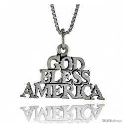 Sterling Silver GOD BLESS AMERICA Word Necklace, w/ 18 in Box Chain -Style Tpo51