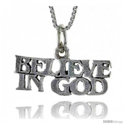 Sterling Silver BELIEVE IN GOD Word Necklace, w/ 18 in Box Chain