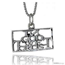 Sterling Silver IN GOD WE TRUST Word Necklace, w/ 18 in Box Chain