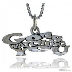 Sterling Silver GOD'S WATCHING YOU Word Necklace, w/ 18 in Box Chain