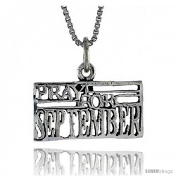Sterling Silver PRAY FOR SEPTEMBER Word Necklace, w/ 18 in Box Chain
