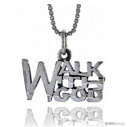 Sterling Silver WALK WITH GOD Word Necklace, w/ 18 in Box Chain