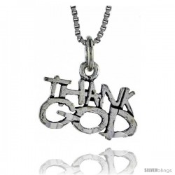 Sterling Silver THANK GOD Word Necklace, w/ 18 in Box Chain