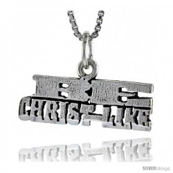 Sterling Silver BE CHRIST-LIKE Word Necklace, w/ 18 in Box Chain