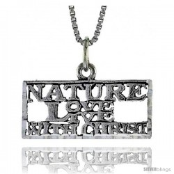 Sterling Silver NATURE LOVE LIVE WITH CHRIST Word Necklace, w/ 18 in Box Chain