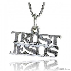 Sterling Silver TRUST JESUS Word Necklace, w/ 18 in Box Chain