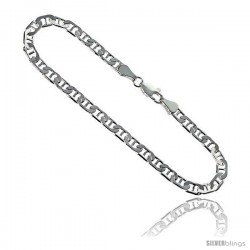Sterling Silver Italian Flat Mariner Chain Necklaces & Bracelets 4.6mm Nickel Free