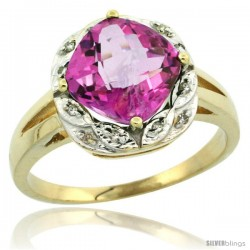 10k Yellow Gold Diamond Halo Pink Topaz Ring 2.7 ct Checkerboard Cut Cushion Shape 8 mm, 1/2 in wide