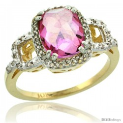 10k Yellow Gold Diamond Pink Topaz Ring 2 ct Checkerboard Cut Cushion Shape 9x7 mm, 1/2 in wide