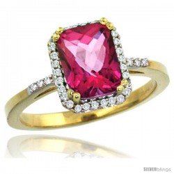 10k Yellow Gold Diamond Pink Topaz Ring 1.6 ct Emerald Shape 8x6 mm, 1/2 in wide -Style Cy906129