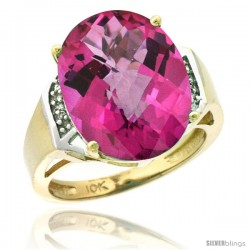 10k Yellow Gold Diamond Pink Topaz Ring 9.7 ct Large Oval Stone 16x12 mm, 5/8 in wide