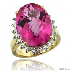 10k Yellow Gold Diamond Halo Pink Topaz Ring 10 ct Large Oval Stone 18x13 mm, 7/8 in wide