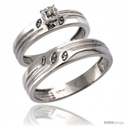 10k White Gold 2-Pc Diamond Ring Set (4.5mm Engagement Ring & 5mm Man's Wedding Band), w/ 0.056 Carat Brilliant Cut Diamonds