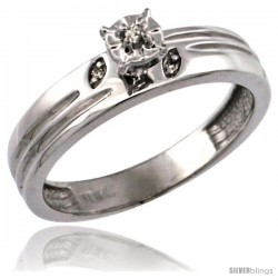 10k White Gold Diamond Engagement Ring w/ 0.03 Carat Brilliant Cut Diamonds, 5/32 in. (4.5mm) wide