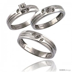 10k White Gold 3-Pc. Trio His (5mm) & Hers (4.5mm) Diamond Wedding Ring Band Set, w/ 0.075 Carat Brilliant Cut Diamonds