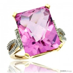 10k Yellow Gold Diamond Pink Topaz Ring 12 ct Emerald Shape 16x12 Stone 3/4 in wide