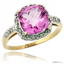 10k Yellow Gold Diamond Pink Topaz Ring 2.08 ct Cushion cut 8 mm Stone 1/2 in wide