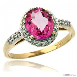10k Yellow Gold Diamond Pink Topaz Ring Oval Stone 8x6 mm 1.17 ct 3/8 in wide