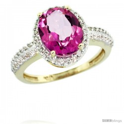 10k Yellow Gold Diamond Pink Topaz Ring Oval Stone 10x8 mm 2.4 ct 1/2 in wide