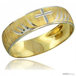 10k Gold Men's Wedding Band Ring Diamond-cut Pattern Rhodium Accent, 7/32 in. (5.5mm) wide -Style 10y503mb