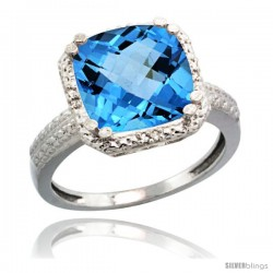 Sterling Silver Diamond Natural Swiss Blue Topaz Ring 5.94 ct Checkerboard Cushion 11 mm Stone 1/2 in wide