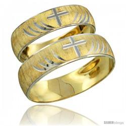 10k Gold 2-Piece Wedding Band Ring Set Him & Her 5.5mm & 4.5mm Diamond-cut Pattern Rhodium Accent -Style 10y503w2