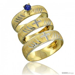 10k Gold 3-Piece Trio Blue Sapphire Wedding Ring Set Him & Her 0.10 ct Rhodium Accent Diamond-cut Pattern -Style 10y503w3