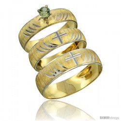 10k Gold 3-Piece Trio Green Sapphire Wedding Ring Set Him & Her 0.10 ct Rhodium Accent Diamond-cut Pattern -Style 10y503w3