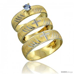 10k Gold 3-Piece Trio Light Blue Sapphire Wedding Ring Set Him & Her 0.10 ct Rhodium Accent Diamond-cut Pattern -Style 10y503w3